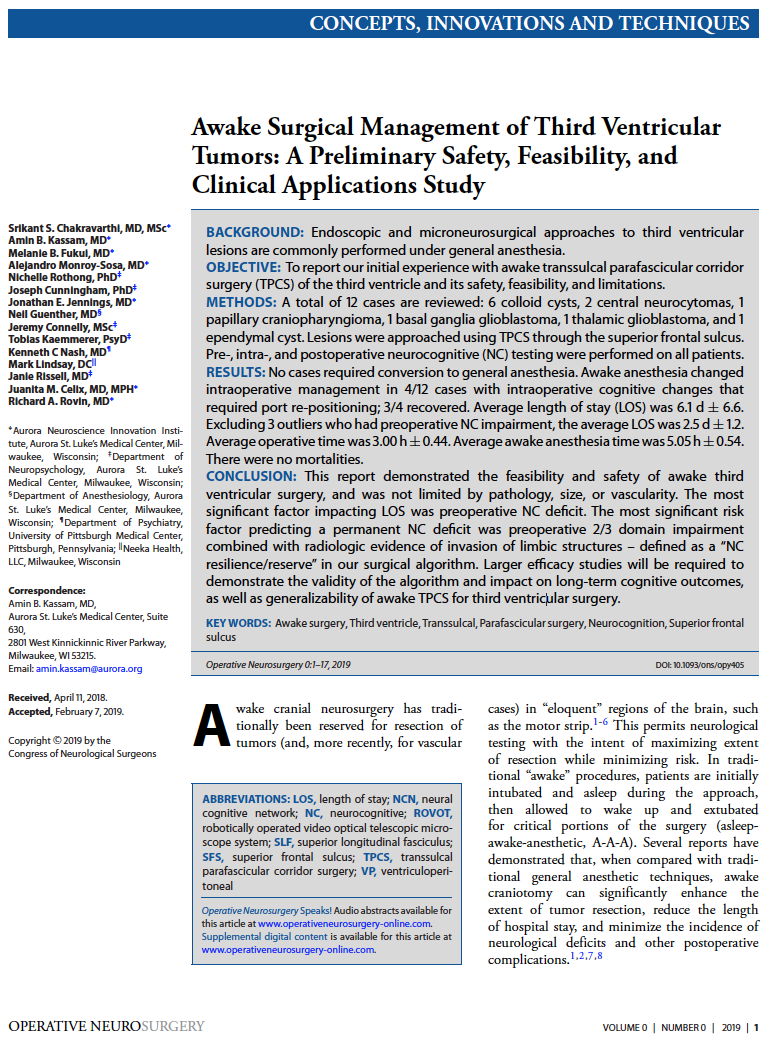 Awake Surgical Management of Third Ventricular Tumors: A Preliminary Safety, Feasibility, and Clinical Applications Study