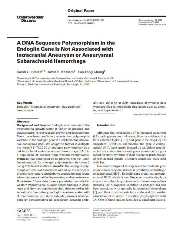 A DNA Sequence Polymorphism in the Endoglin Gene Is Not Associated with Intracranial Aneurysm or Aneurysmal Subarachnoid Hemorrhage