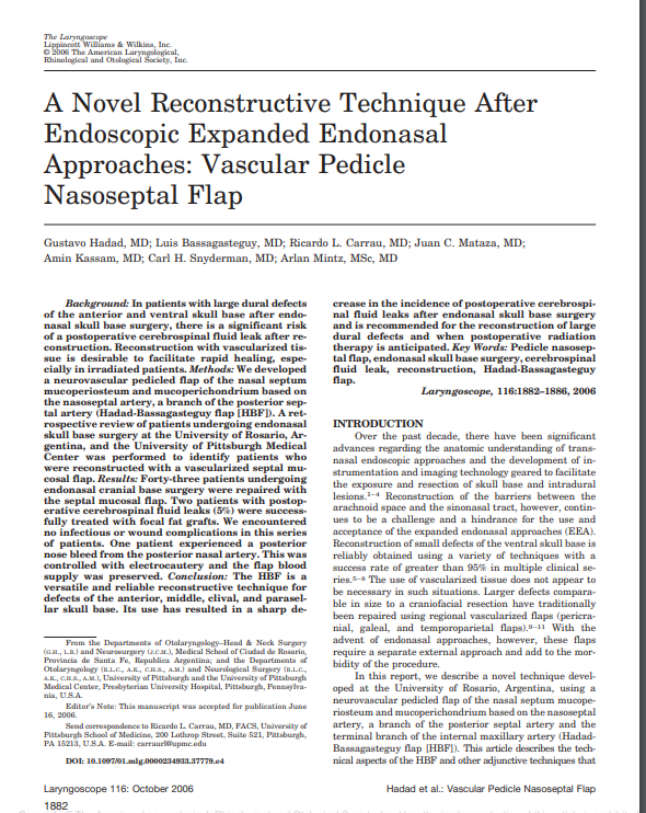 A Novel Reconstructive Technique After Endoscopic Expanded Endonasal Approaches: Vascular Pedicle Nasoseptal Flap