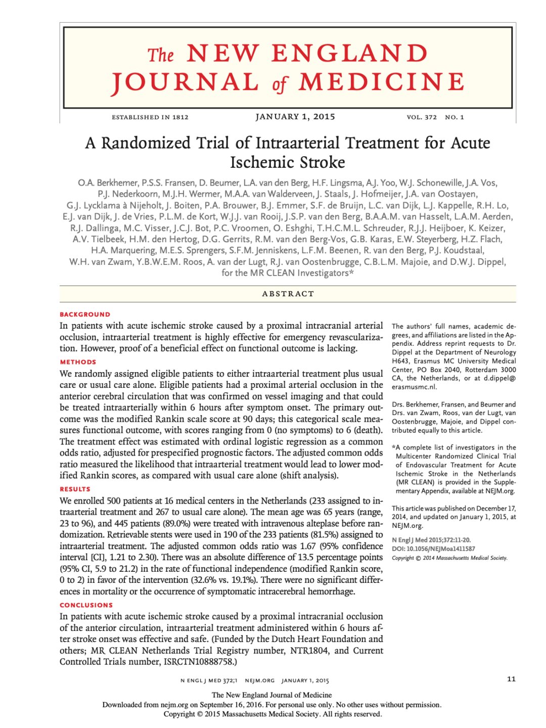 A Randomized Trial of Intraarterial Treatment for Acute Ischemic Stroke
