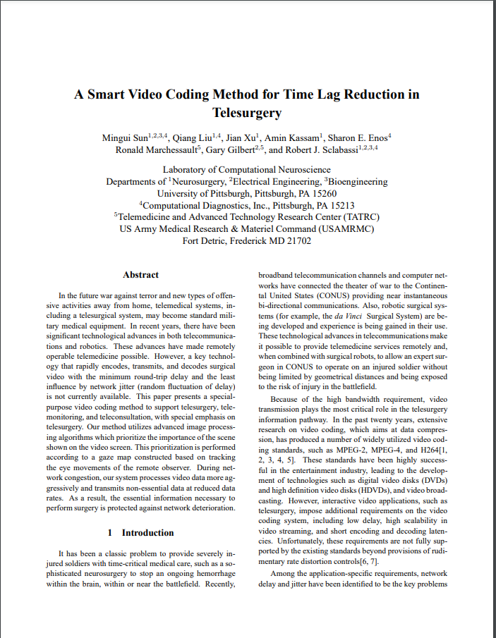 A Smart Video Coding Method for Time Lag Reduction in Telesurgery