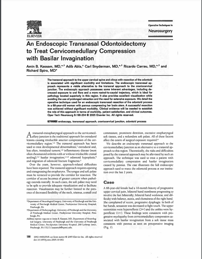 An Endoscopic Transnasal Odontoidectomy to Treat Cervicomedullary Compression with Basilar Invagination