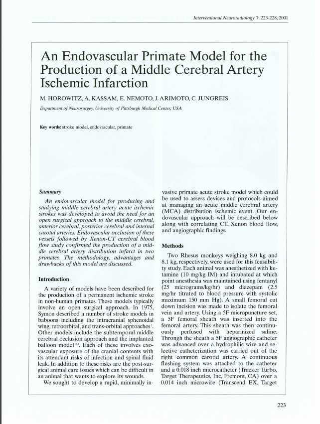 An Endovascular Primate Model for the Production of a Middle Cerebral Artery Ischemic Infarction