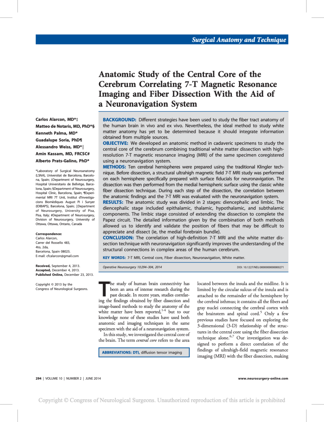 Anatomic Study of the Central Core of the Cerebrum Correlating 7-T Magnetic Resonance Imaging and Fiber Dissection With the Aid of a Neuronavigation System