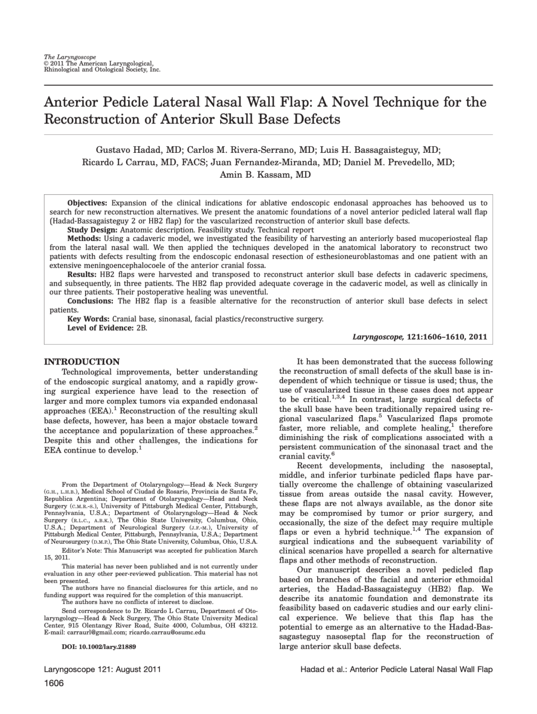 Anterior Pedicle Lateral Nasal Wall Flap: A Novel Technique for the Reconstruction of Anterior Skull Base Defects