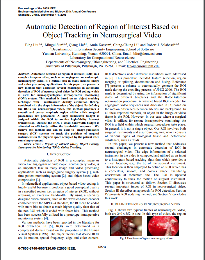 Automatic Detection of Region of Interest Based on Object Tracking in Neurosurgical Video