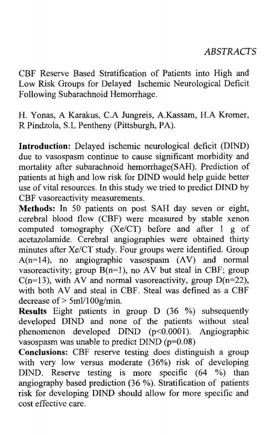 CBF reserve based stratification of patients into high and low risk groups for delayed ischemic neurological deficit following subarachnoid hemorrhage