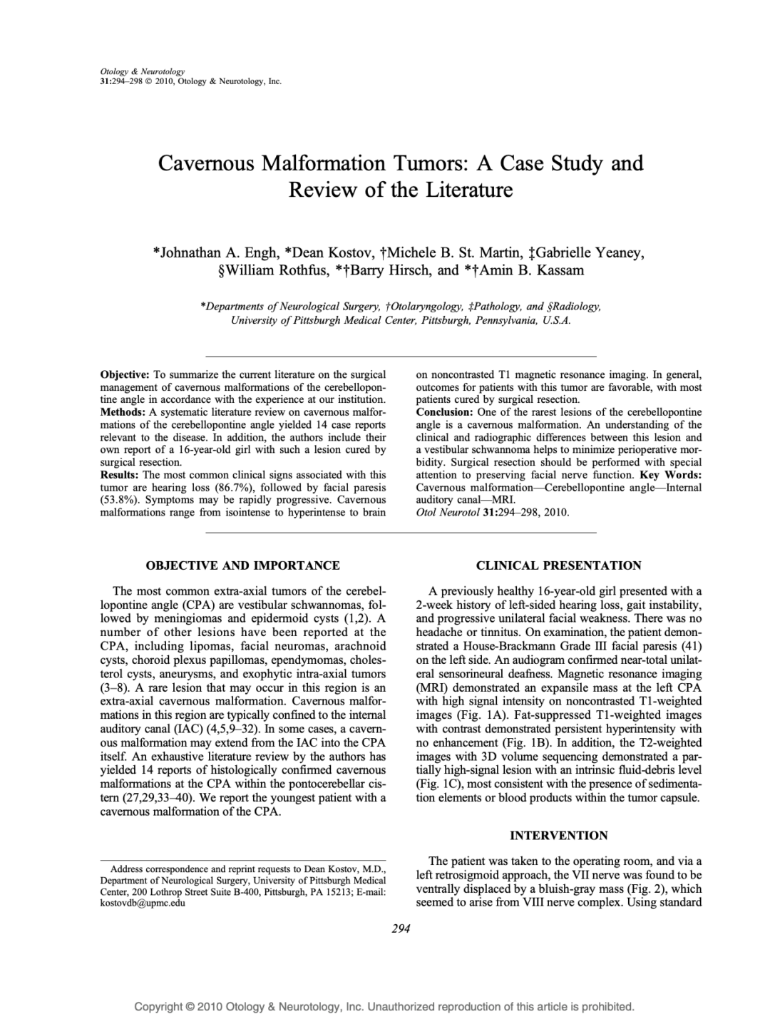 Cavernous Malformation Tumors: A Case Study and Review of the Literature