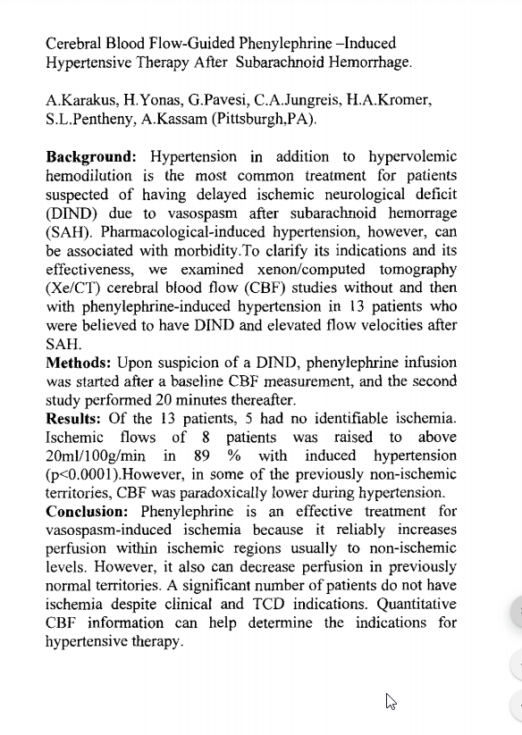 Cerebral blood flow-guided phenylephrine-induced hypertensive therapy after subarachnoid hemorrhage