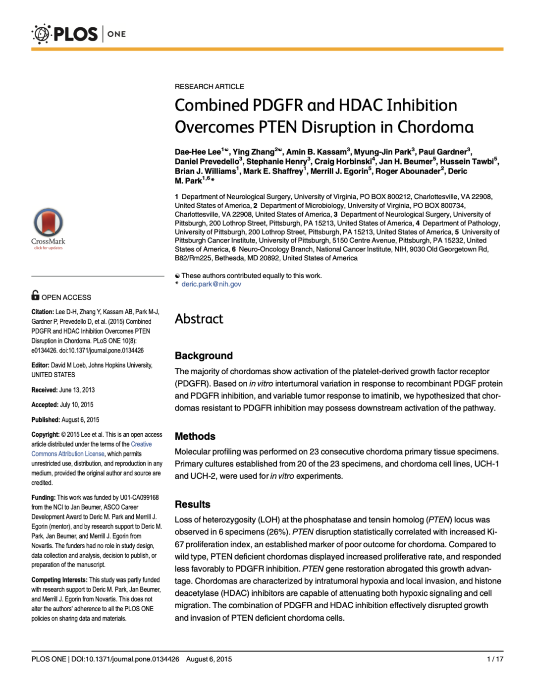 Combined PDGFR and HDAC Inhibition Overcomes PTEN Disruption in Chordoma