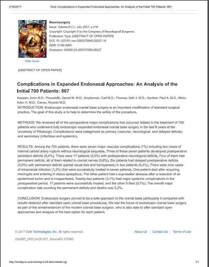 Complications in Expanded Endonasal Approaches An Analysis of the Initial 700 Patients