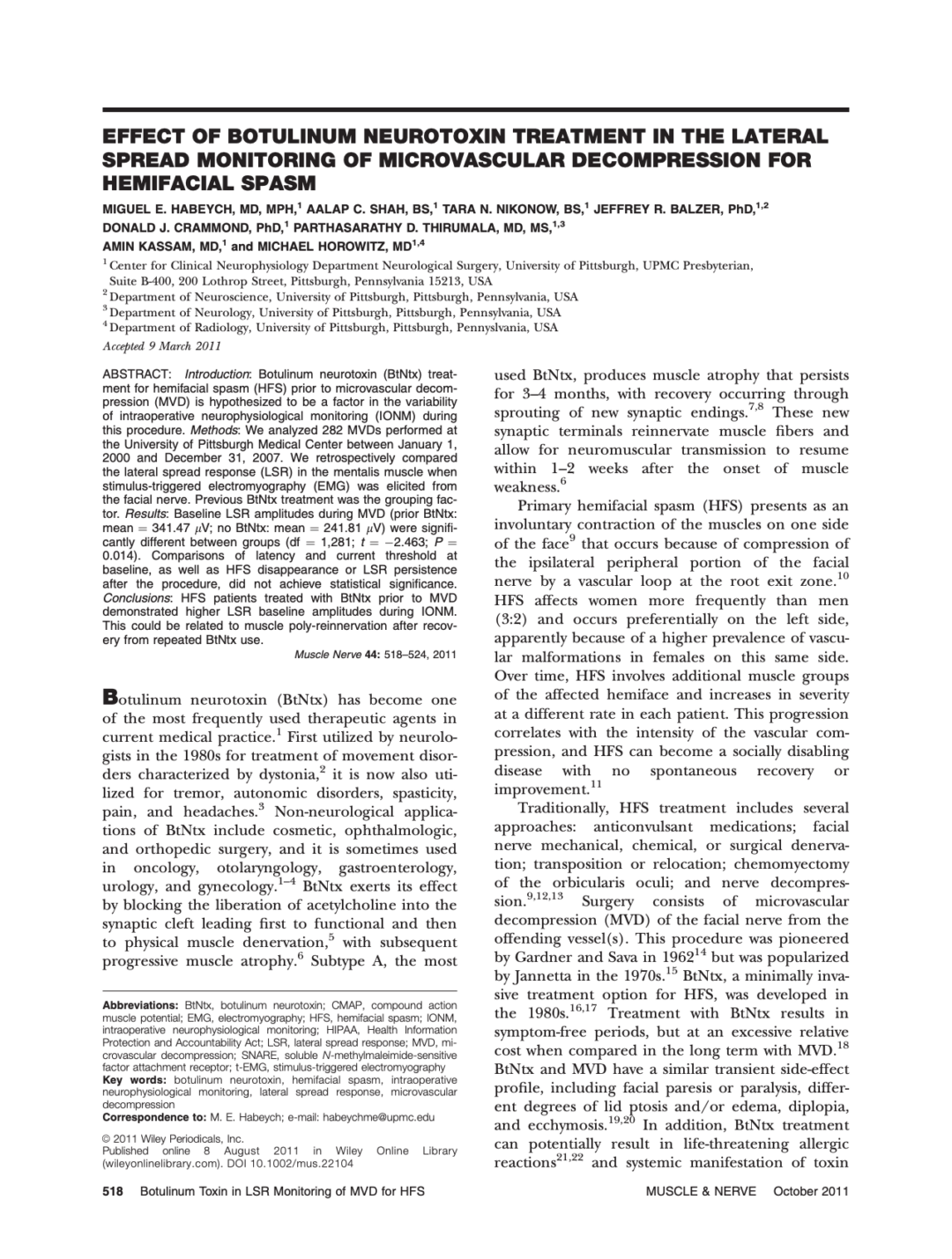 EFFECT OF BOTULINUM NEUROTOXIN TREATMENT IN THE LATERAL SPREAD MONITORING OF MICROVASCULAR DECOMPRESSION FOR HEMIFACIAL SPASM