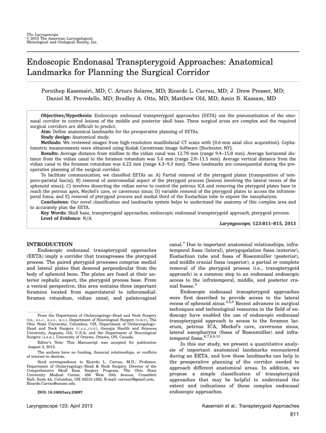 Endoscopic Endonasal Transpterygoid Approaches: Anatomical Landmarks for Planning the Surgical Corridor