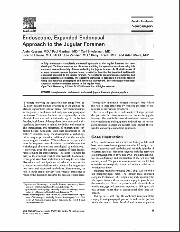 Endoscopic, Expanded Endonasal Approach to the Jugular Foramen