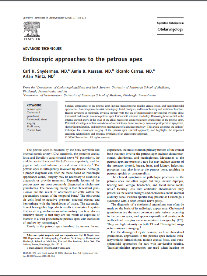 Endoscopic approaches to the petrous apex