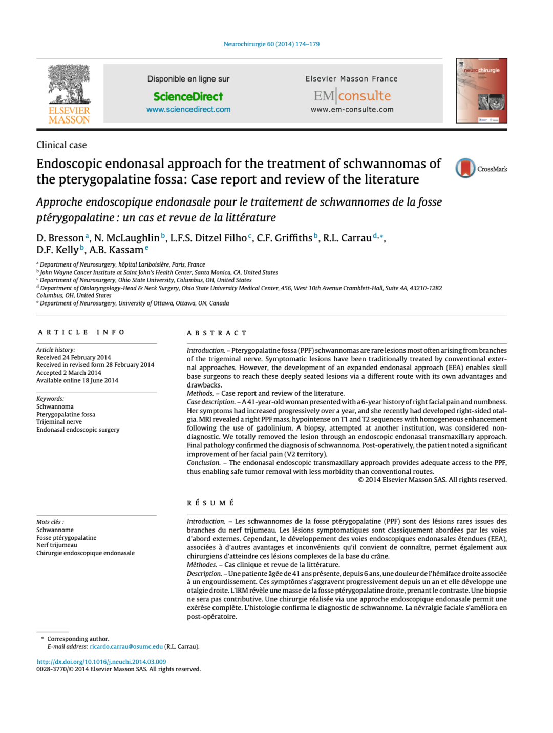 Endoscopic endonasal approach for the treatment of schwannomas of the pterygopalatine fossa: Case report and review of the literature