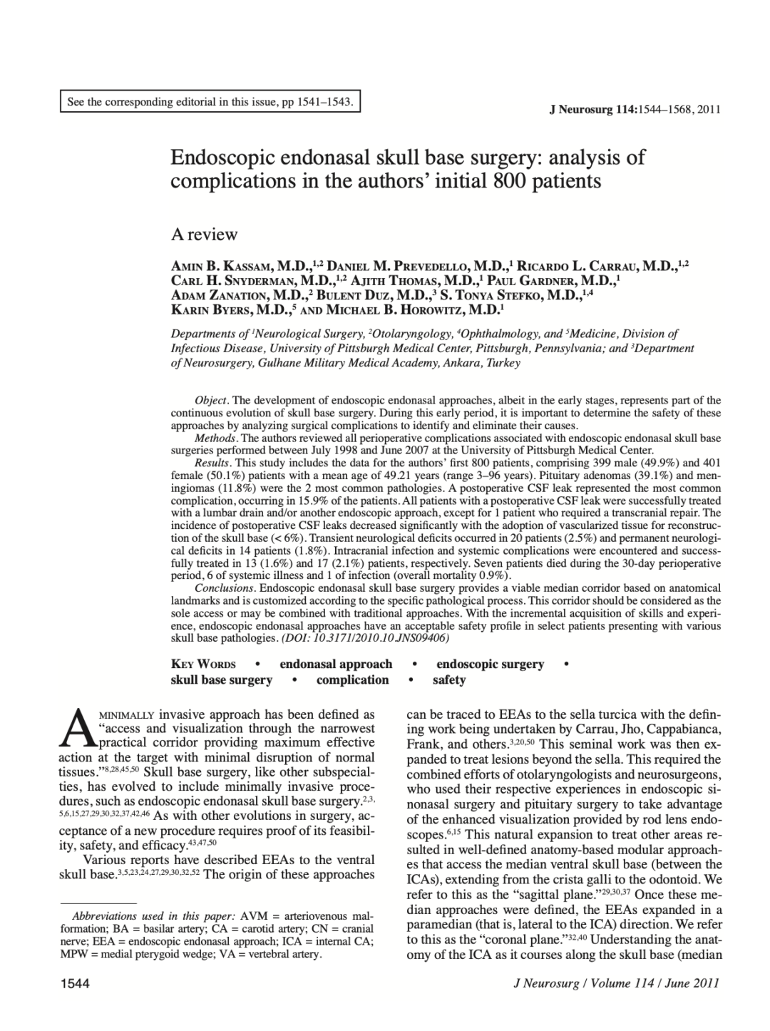 Endoscopic endonasal skull base surgery: analysis of complications in the authors' initial 800 patients