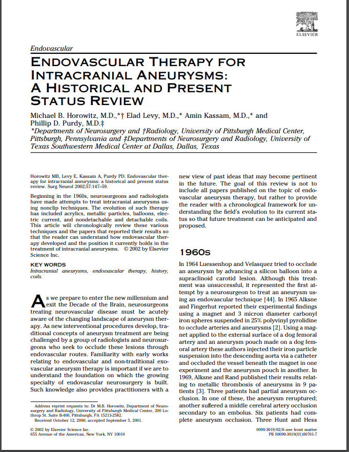 Endovascular Therapy for Intracranial Aneurysms: A Historical and Present Status Review