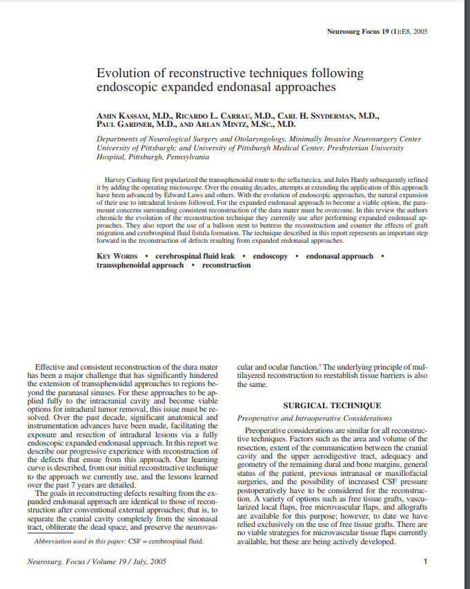 Evolution of reconstructive techniques following endoscopic expanded endonasal approaches
