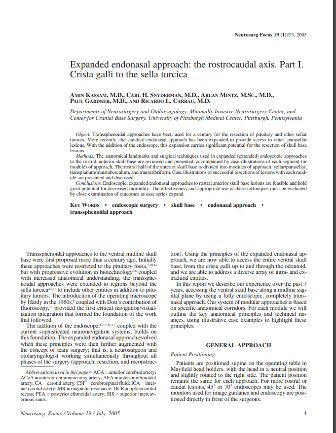 Expanded endonasal approach: the rostrocaudal axis. Part I. Crista galli to the sella turcica