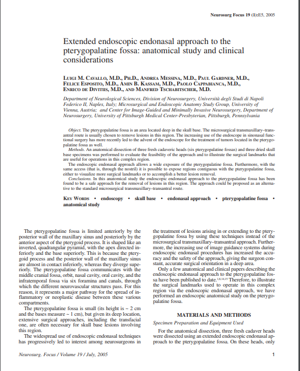 Extended endoscopic endonasal approach to the pterygopalatine fossa: anatomical study and clinical considerations