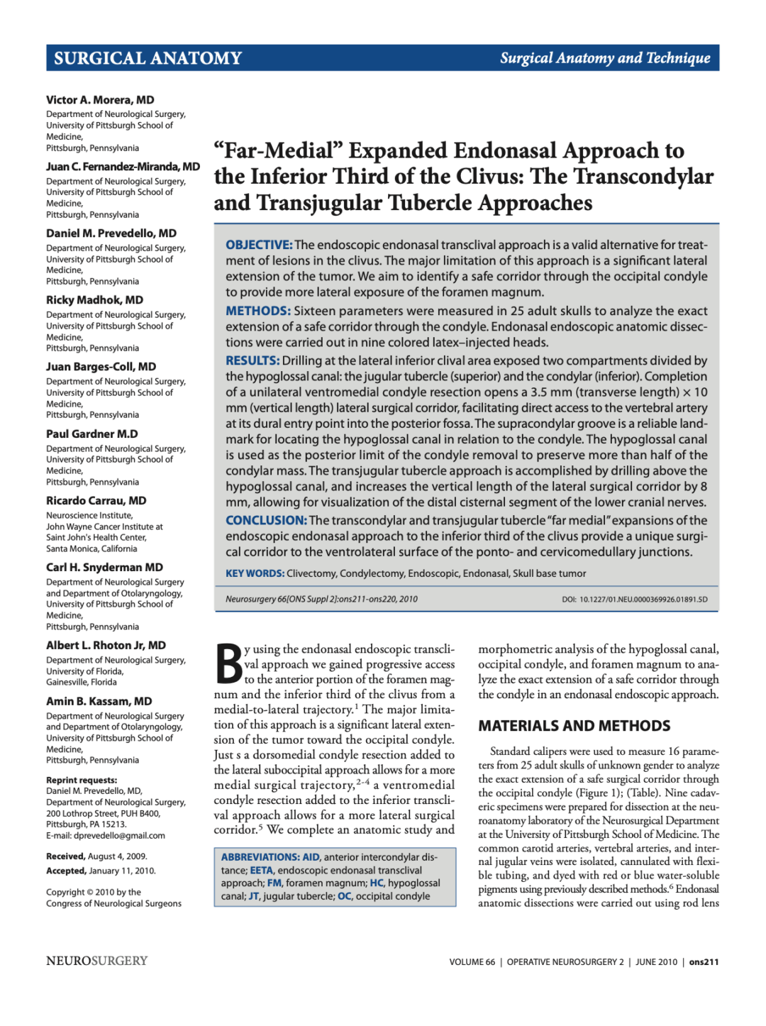 """""""Far-Medial"""" Expanded Endonasal Approach to the Inferior Third of the Clivus: The Transcondylar and Transjugular Tubercle Approaches"""
