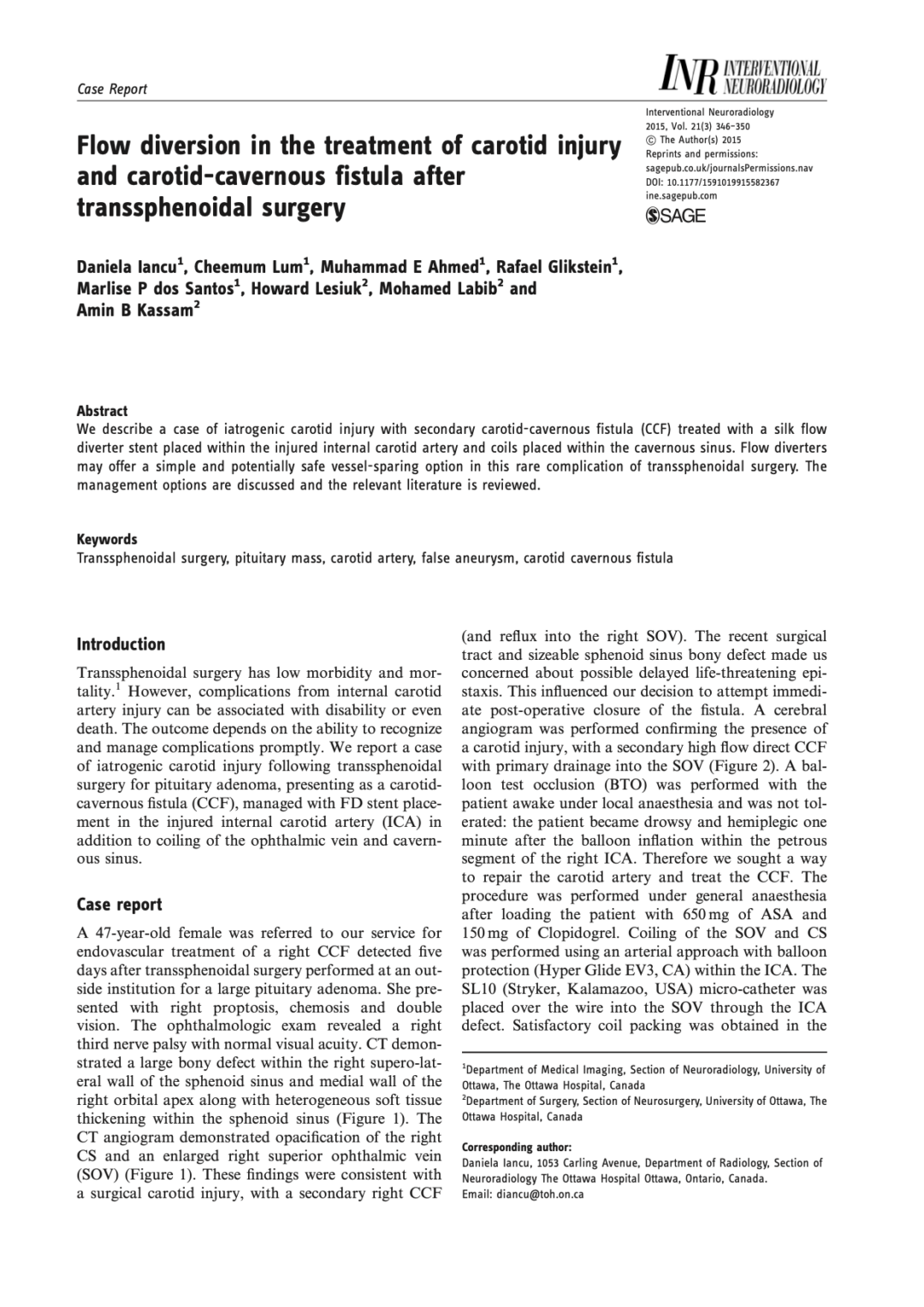 Flow diversion in the treatment of carotid injury and carotid-cavernous fistula after transsphenoidal surgery