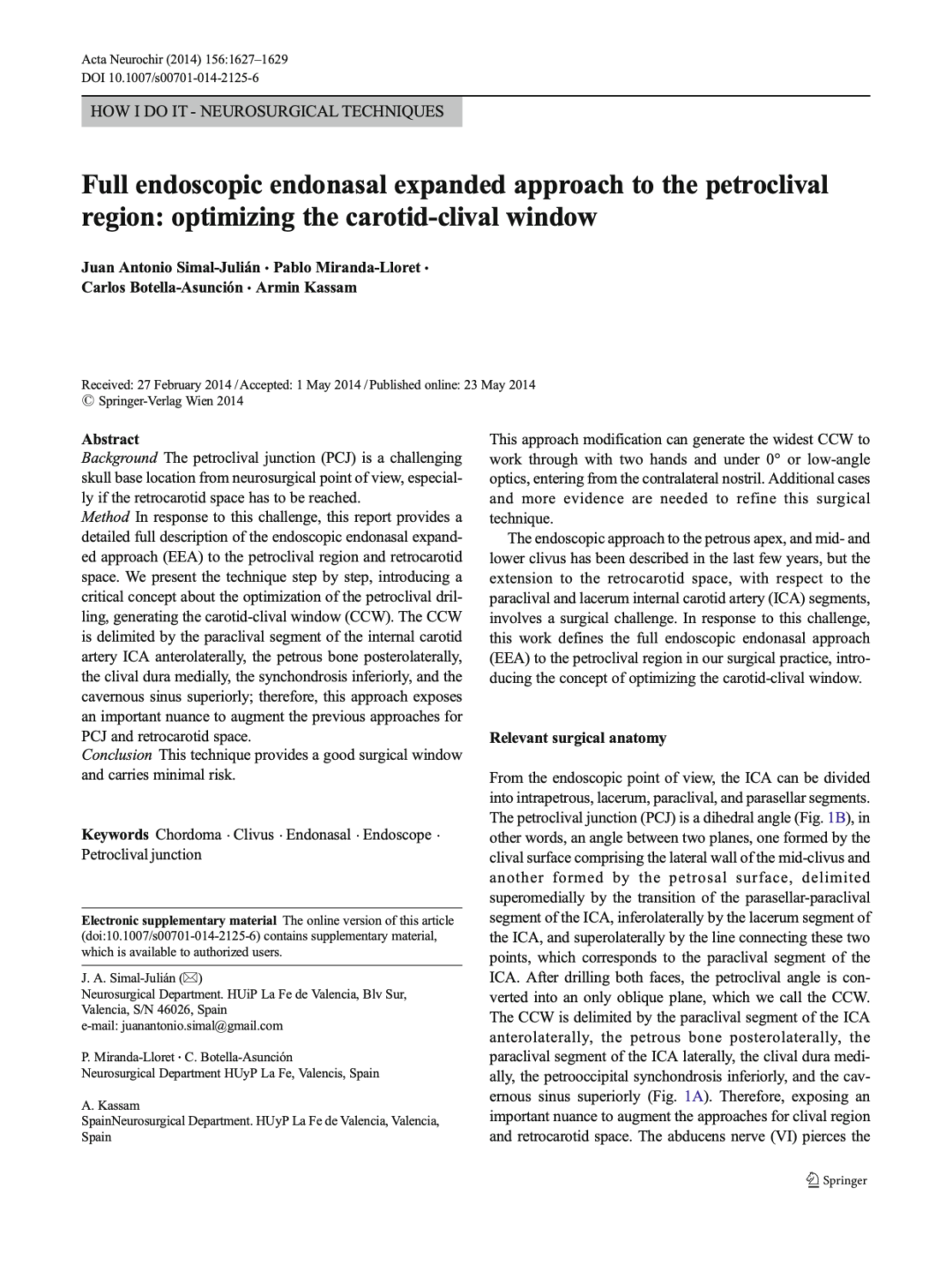 Full endoscopic endonasal expanded approach to the petroclival region: optimizing the carotid-clival window