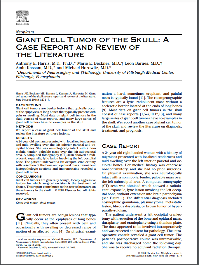 Giant Cell Tumor of the Skull: A Case Report and Review of the Literature
