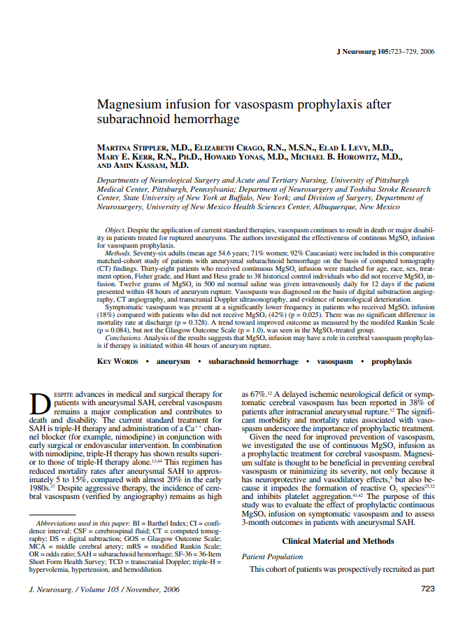 Magnesium infusion for vasospasm prophylaxis after subarachnoid hemorrhage