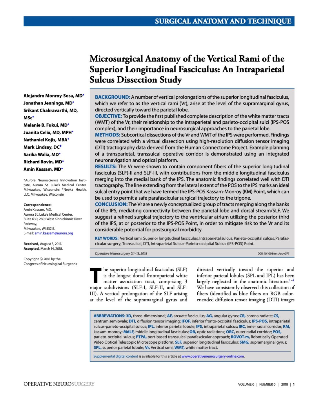 Microsurgical Anatomy of the Vertical Rami of the Superior Longitudinal Fasciculus: An Intraparietal Sulcus Dissection Study