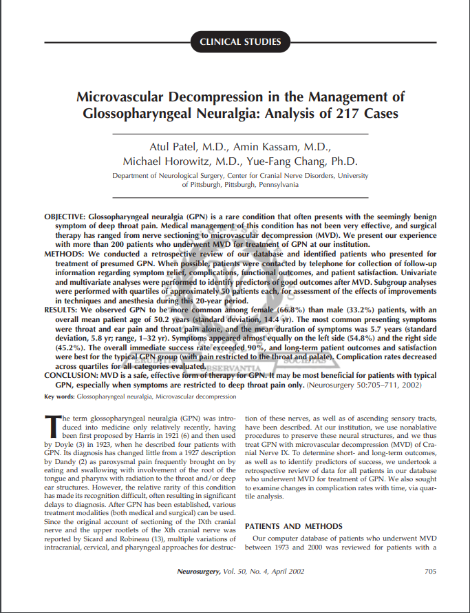 Microvascular Decompression in the Management of Glossopharyngeal Neuralgia: Analysis of 217 Cases