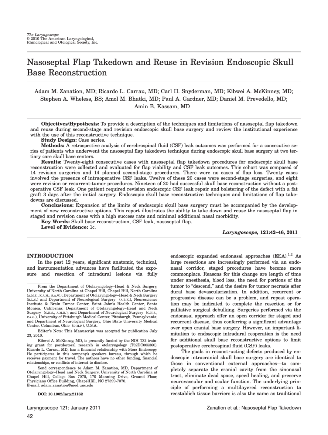 Nasoseptal Flap Takedown and Reuse in Revision Endoscopic Skull Base Reconstruction