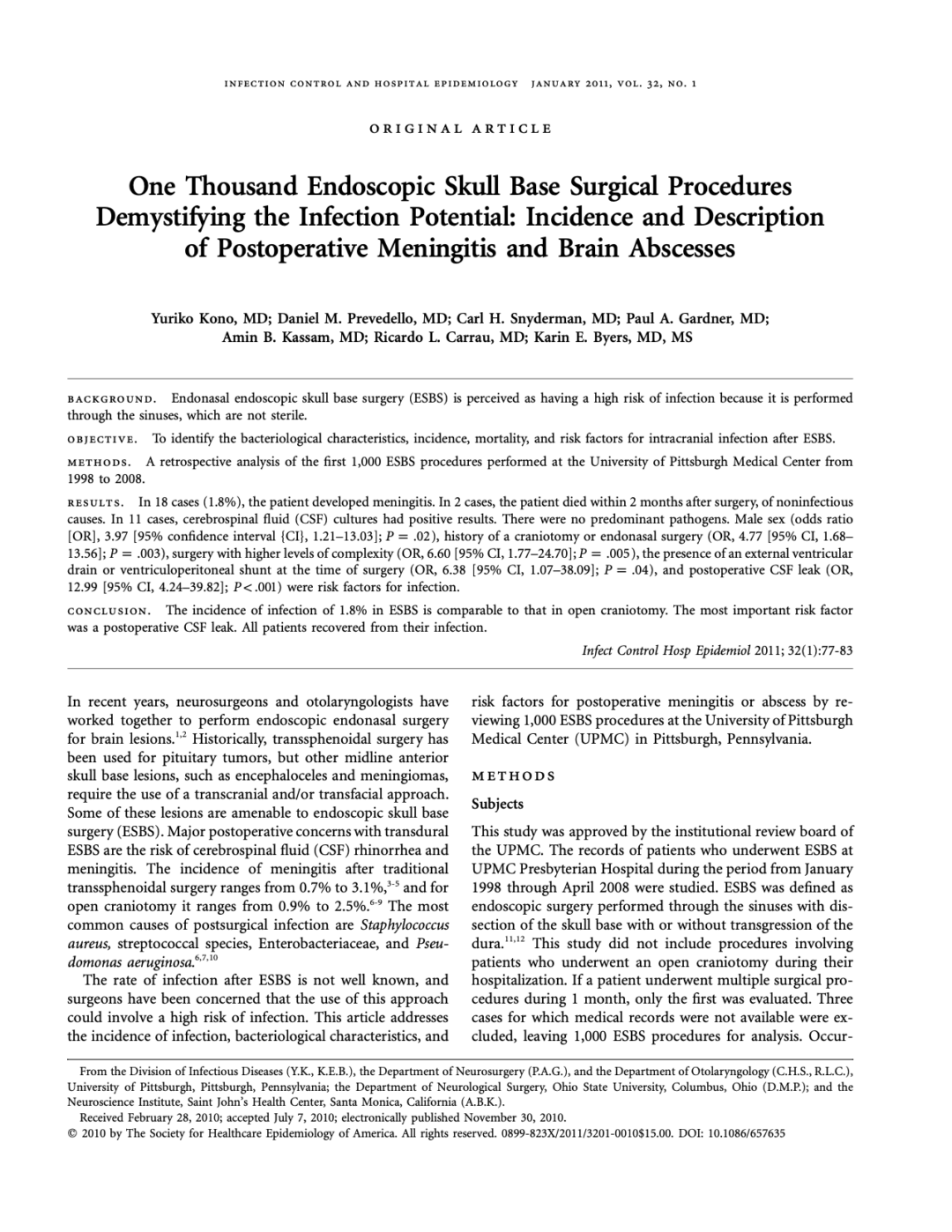 One Thousand Endoscopic Skull Base Surgical Procedures Demystifying the Infection Potential: Incidence and Description of Postoperative Meningitis and Brain Abscesses