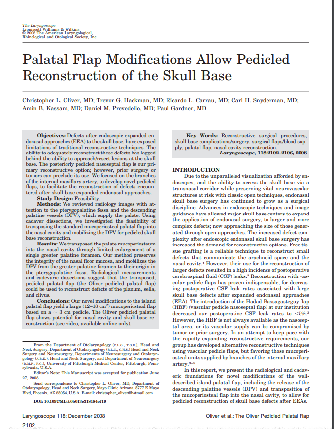 Palatal Flap Modifications Allow Pedicled Reconstruction of the Skull Base