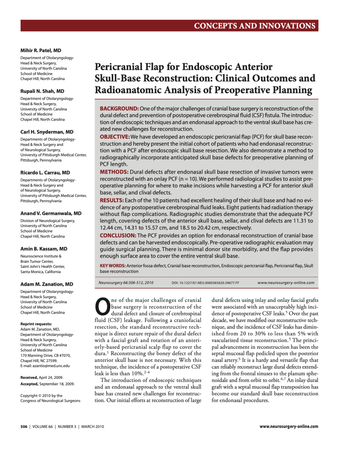 Pericranial Flap for Endoscopic Anterior Skull-Base Reconstruction: Clinical Outcomes and Radioanatomic Analysis of Preoperative Planning