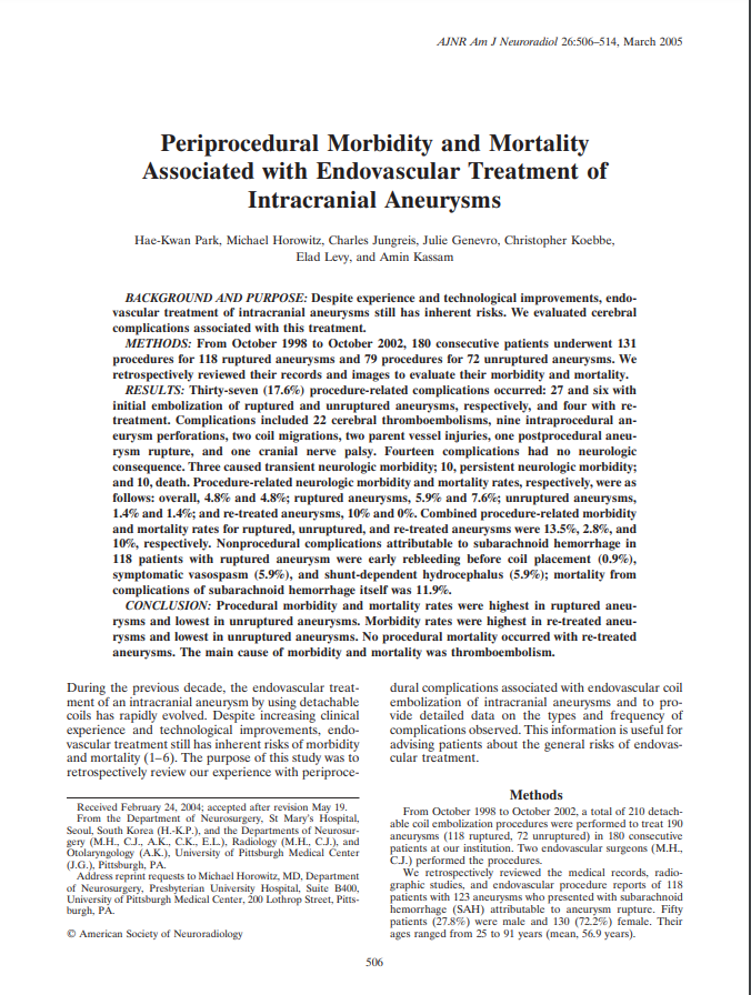Periprocedural Morbidity and Mortality Associated with Endovascular Treatment of Intracranial Aneurysms