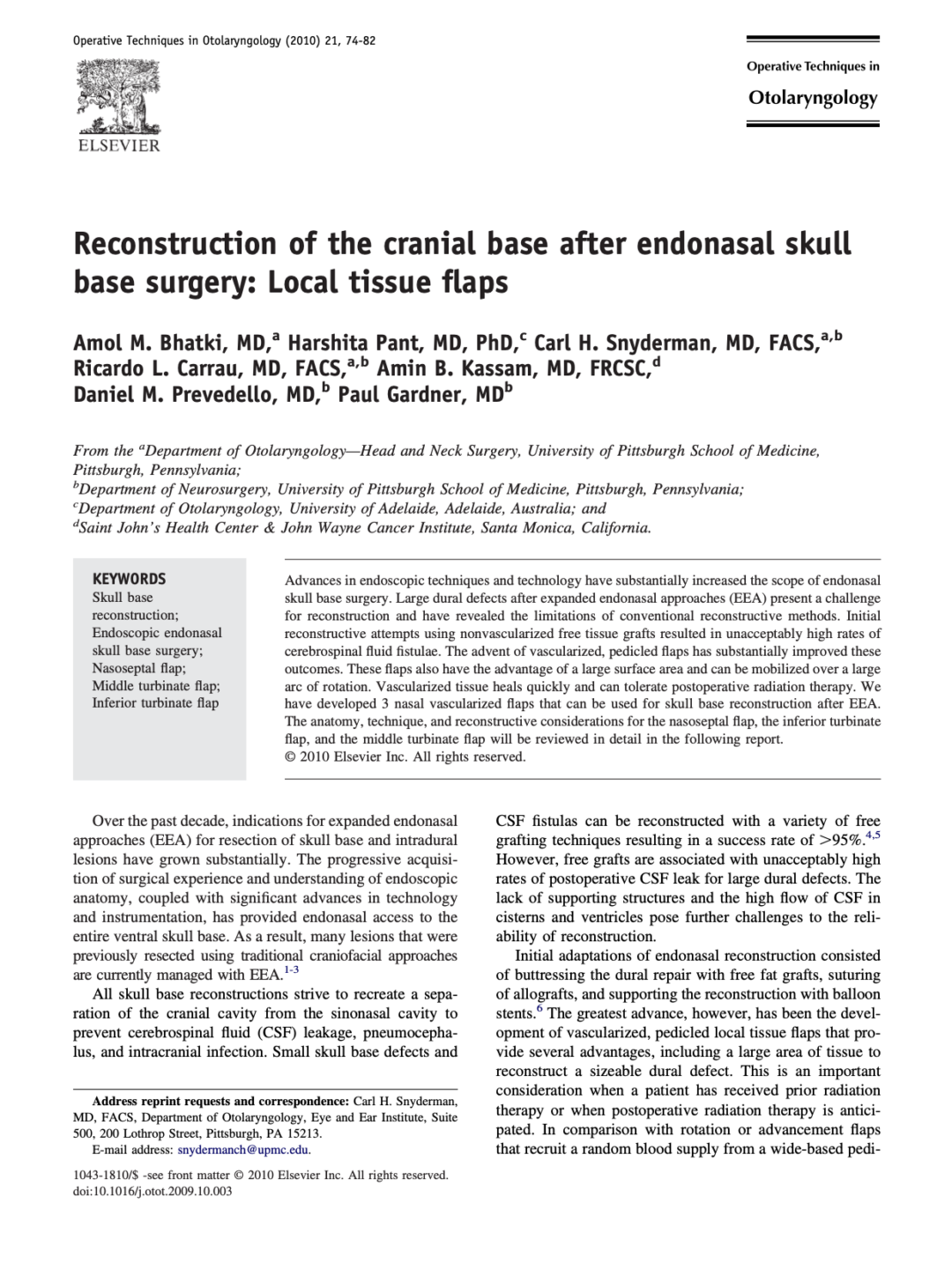 Reconstruction of the cranial base after endonasal skull base surgery: Local tissue flaps