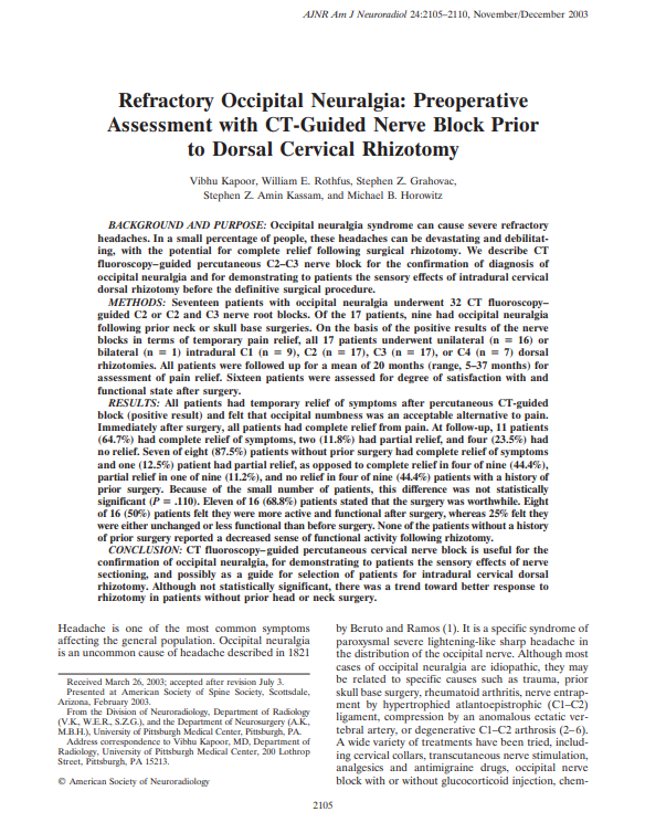 Refractory Occipital Neuralgia: Preoperative Assessment with CT-Guided Nerve Block Prior to Dorsal Cervical Rhizotomy