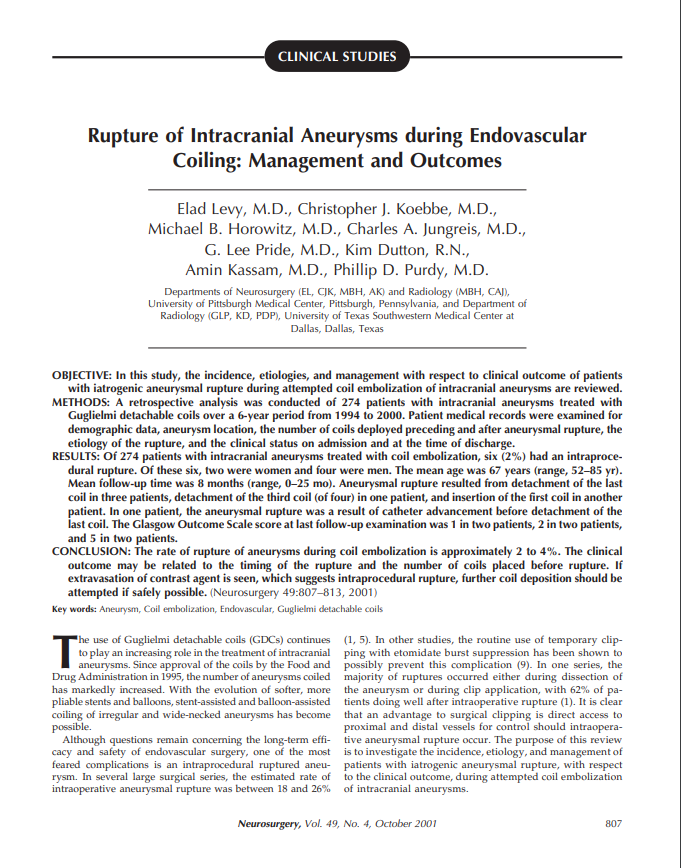 Rupture of Intracranial Aneurysms during Endovascular Coiling: Management and Outcomes