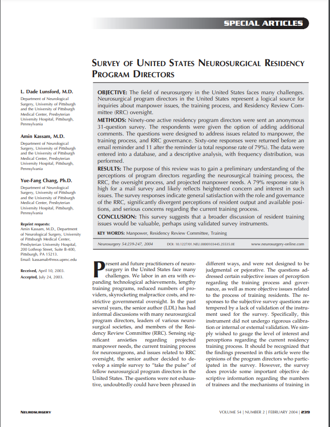 SURVEY OF UNITED STATES NEUROSURGICAL RESIDENCY PROGRAM DIRECTORS
