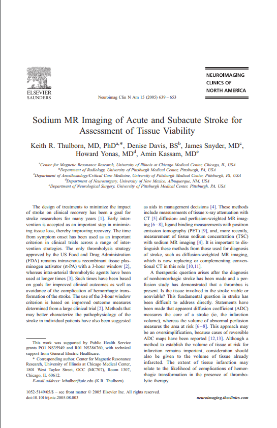 Sodium MR Imaging of Acute and Subacute Stroke for Assessment of Tissue Viability