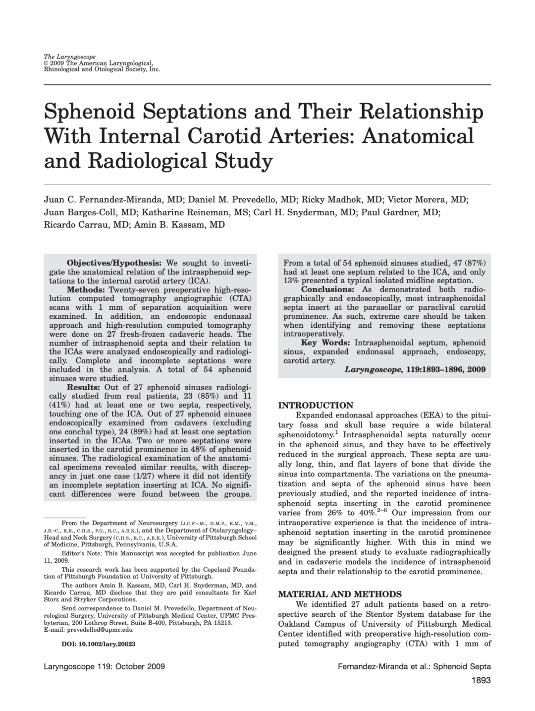 Sphenoid Septations and Their Relationship With Internal Carotid Arteries: Anatomical and Radiological Study