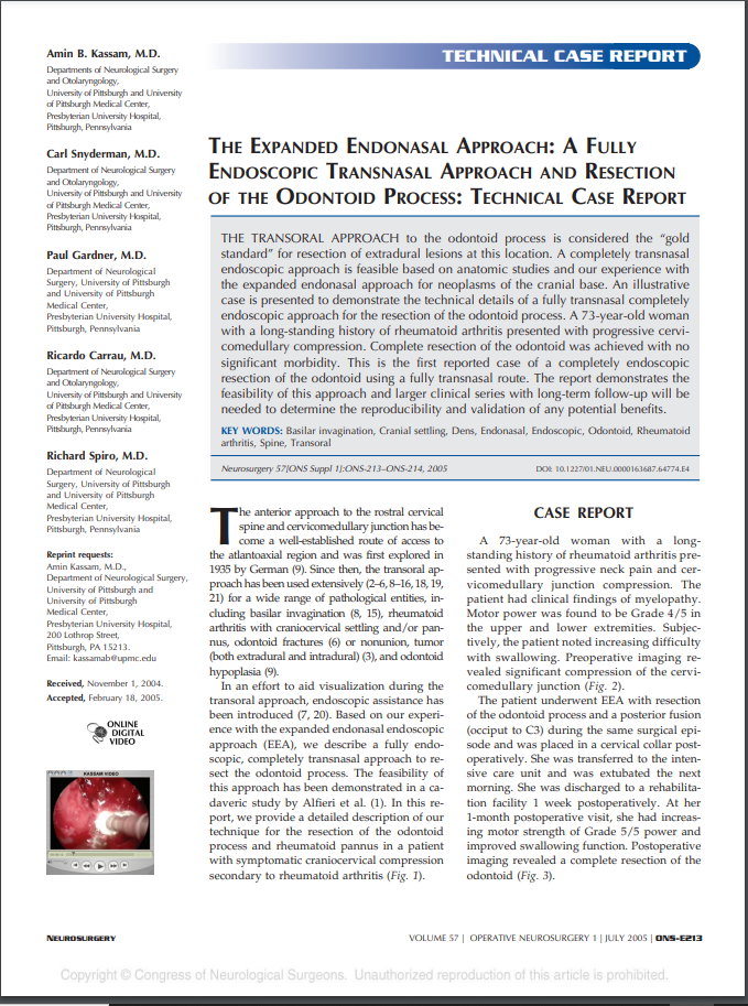 THE EXPANDED ENDONASAL APPROACH:A FULLY ENDOSCOPIC TRANSNASAL APPROACH AND RESECTION OF THE ODONTOID PROCESS: TECHNICAL CASE REPORT