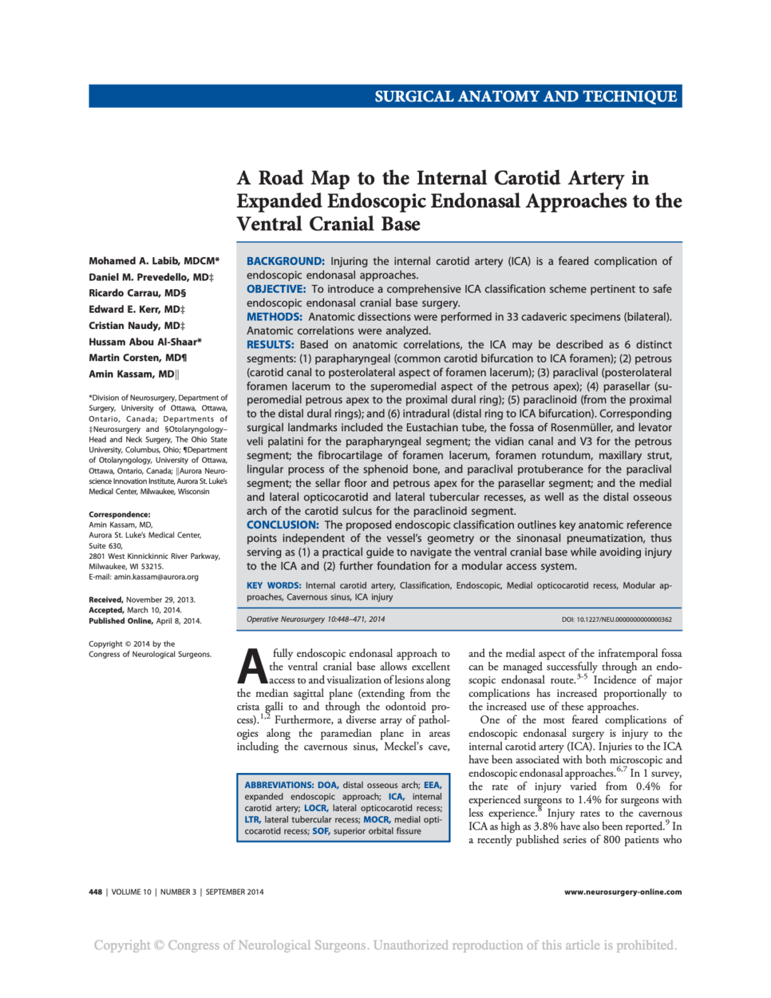 A Road Map to the Internal Carotid Artery in Expanded Endoscopic Endonasal Approaches to the Ventral Cranial Base