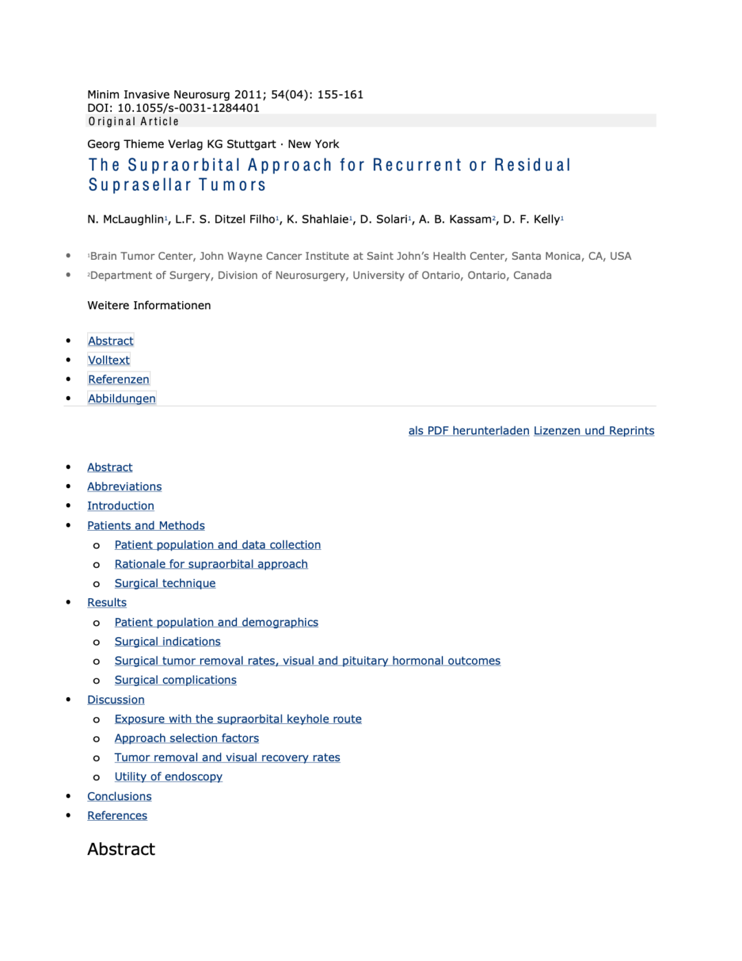 The Supraorbital Approach for Recurrent or Residual Suprasellar Tumors