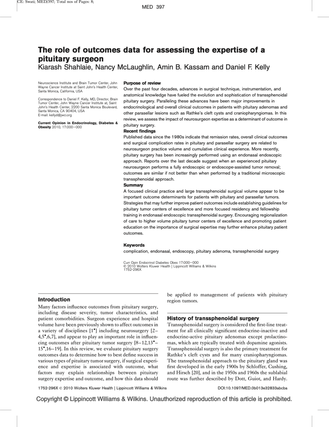 The role of outcomes data for assessing the expertise of a pituitary surgeon