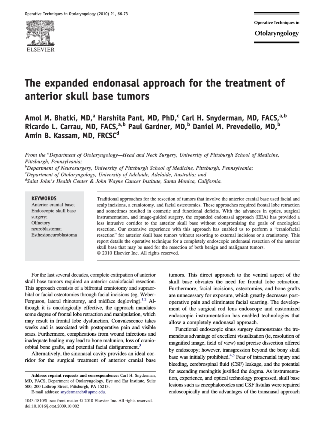 The expanded endonasal approach for the treatment of anterior skull base tumors