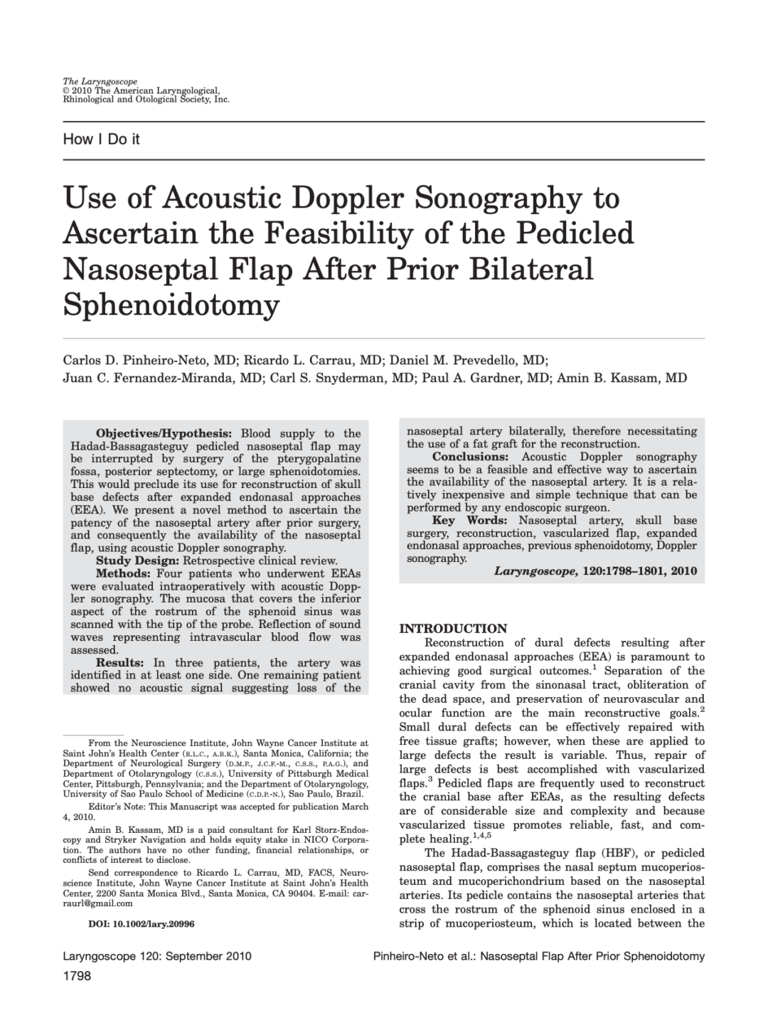 Use of Acoustic Doppler Sonography to Ascertain the Feasibility of the Pedicled Nasoseptal Flap After Prior Bilateral Sphenoidotomy