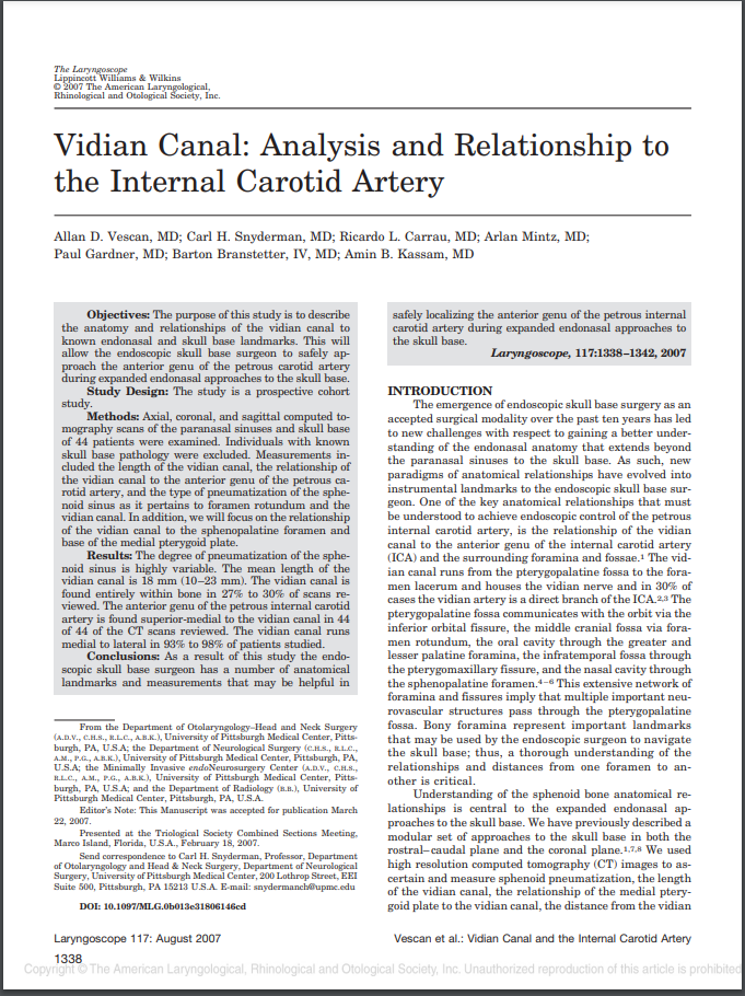 Vidian Canal Analysis and Relationship to the Internal Carotid Artery